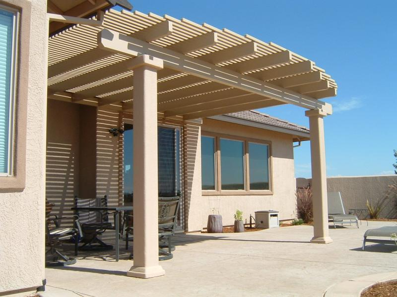 Custom Stucco Columns on a Pergola