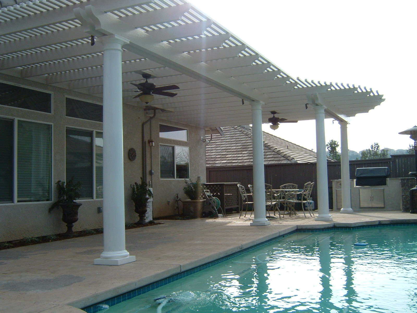 open lattice patio cover, pergola